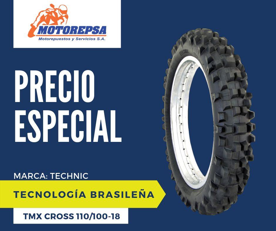 Llanta TECHNIC TMX CROSS 110/100 18 para Moto YAMAHA TTR 230, WR 250/450F Y SIMILARES