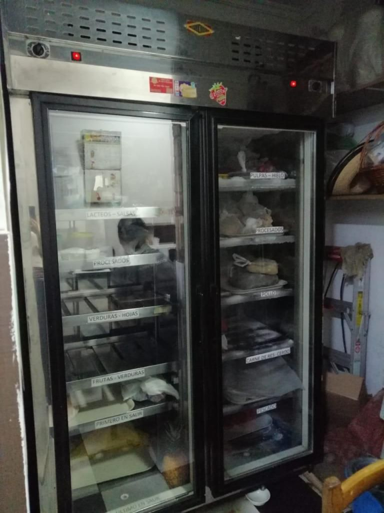 Congelador Vertical mixto industrial y refrigerador en buen estado