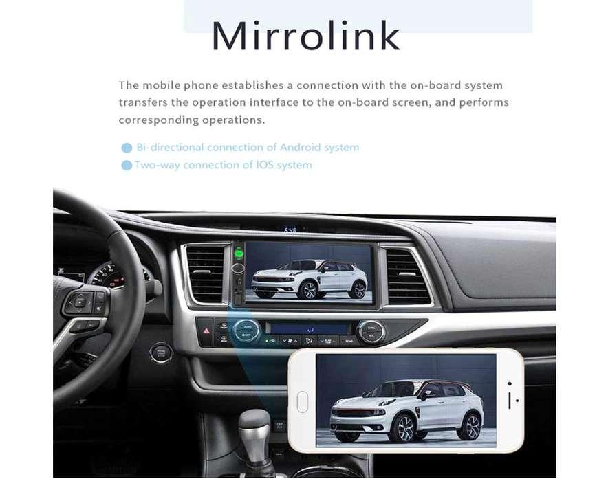 Autoradio Doble Din Con Camara De Retroceso Tactil, mirrorlink(waze, youtube, google maps)