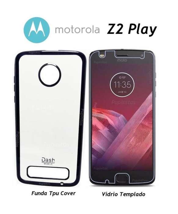 Funda Cover Vidrio Templado Motorola Moto Z2 Play Rosario