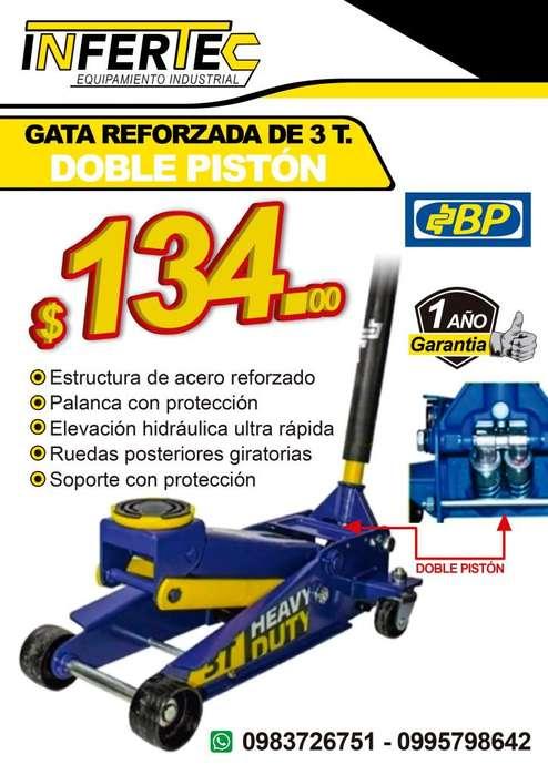 GATA HIDRÁULICA DOBLE PISTÓN 3T. MARCA BP