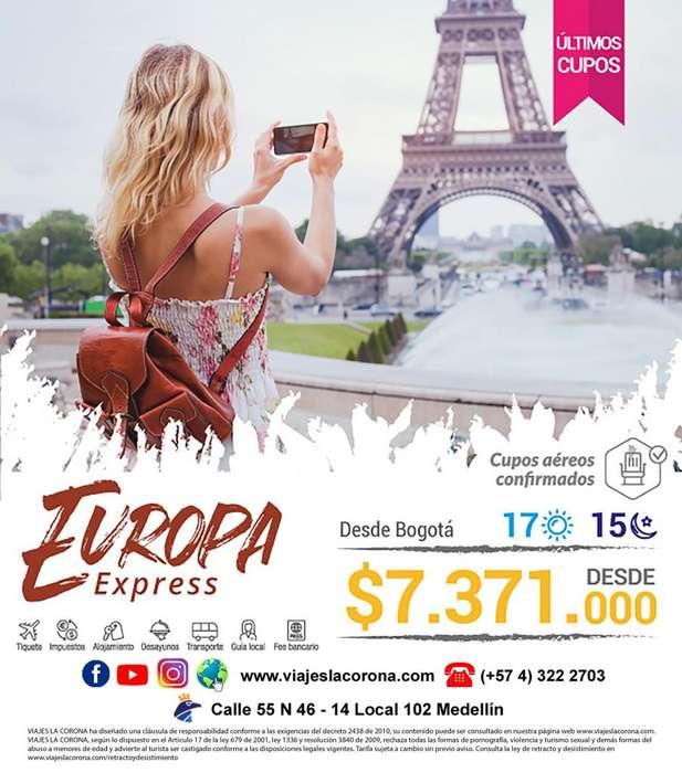 Viaje como un Rey a Europa Express con Viajes la Corona