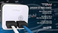 Cargador Pared Usb X2 Puertos Tgw Ichar32 Carga Rapida