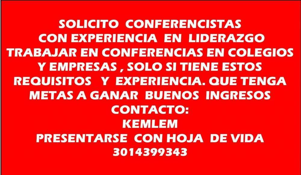 SOLICITO CONFERENCISTAS EN BARRANQUILLA