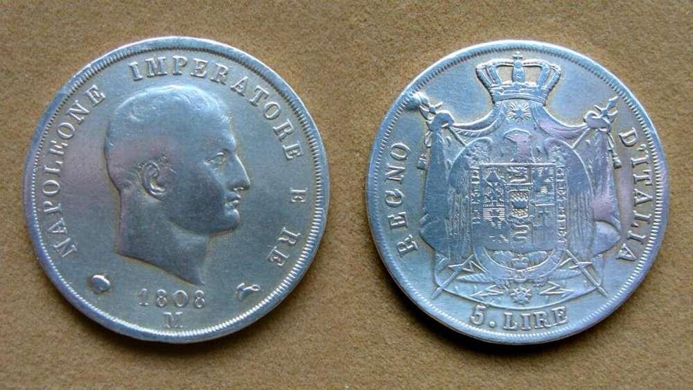 Moneda de 5 liras de plata Reino de Napoleón, Italia 1808