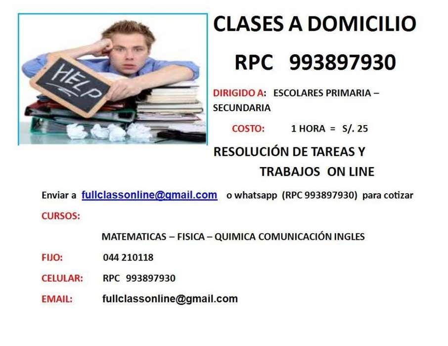 CLASES PARTICULARES A DOMICILIO MATEMATICAS FISICA QUIMICA INGLES