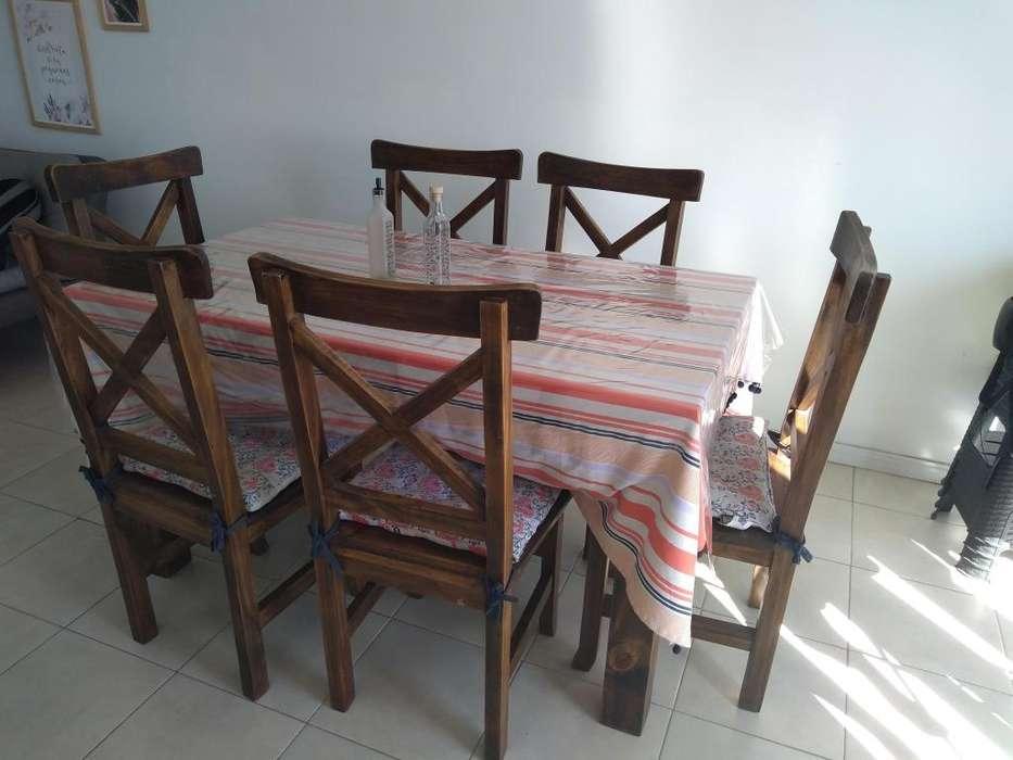 Mesa de comedor con 6 <strong>silla</strong>s de madera