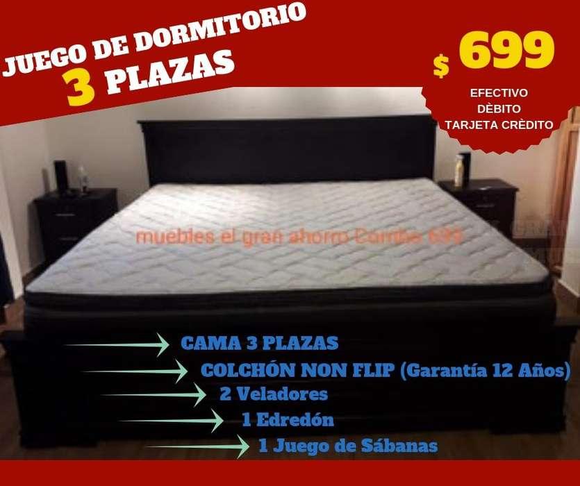 COMBO 3 PLAZAS !! Cama, Colchón Premium, 2 Veladores, Sábanas, Edredón, 2 Almohadas, Entrega e Instalación GRATUITA