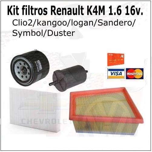 Kit <strong>filtros</strong> Renault Motor1.6 16v K4M