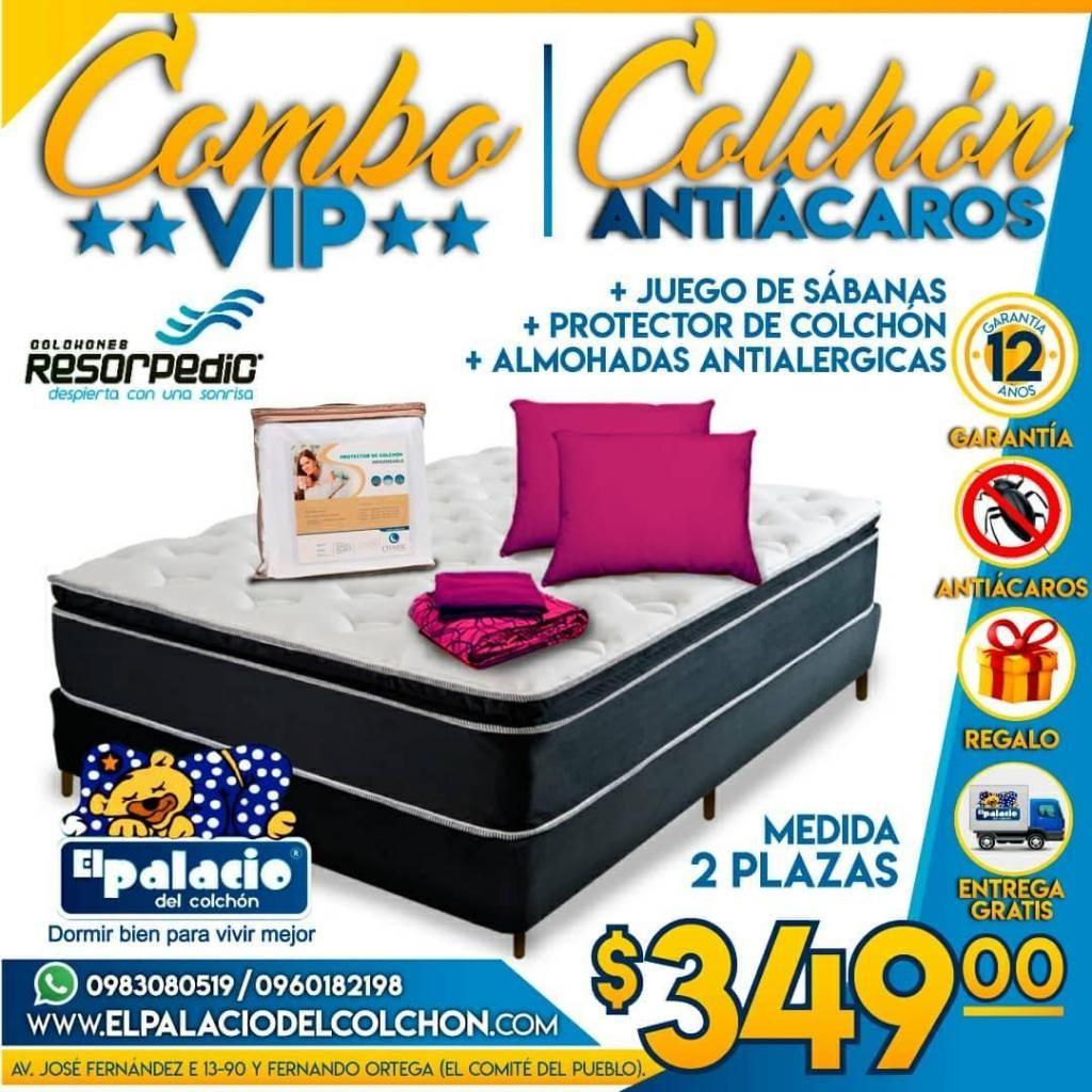 !!*COMBO VIP*!! COLCHONES ORTOPÉDICO 2 PLZ MAS Cama Base, Sabanas, Protector, Almohadas, *ENTREGA Instalación GRATIS*