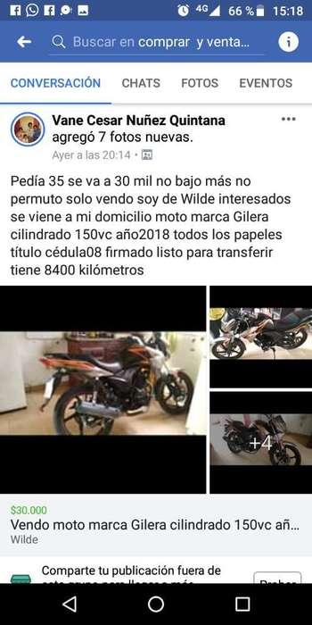 Vendo Moto 150 Gilera Año 2018todos Losp