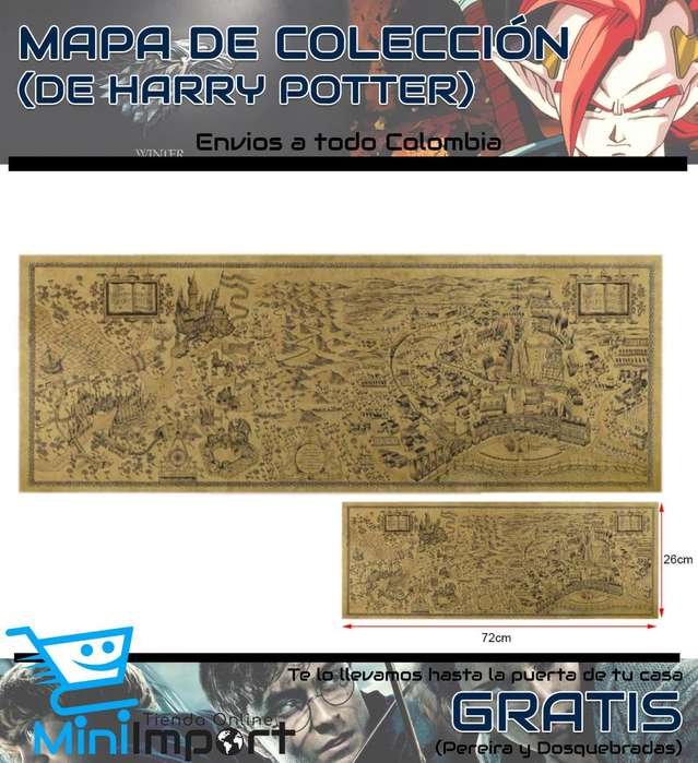 Mapa Tipo Pergamino de Harry Potter (Domicilio gratuito en Pereira y Dosquebradas)