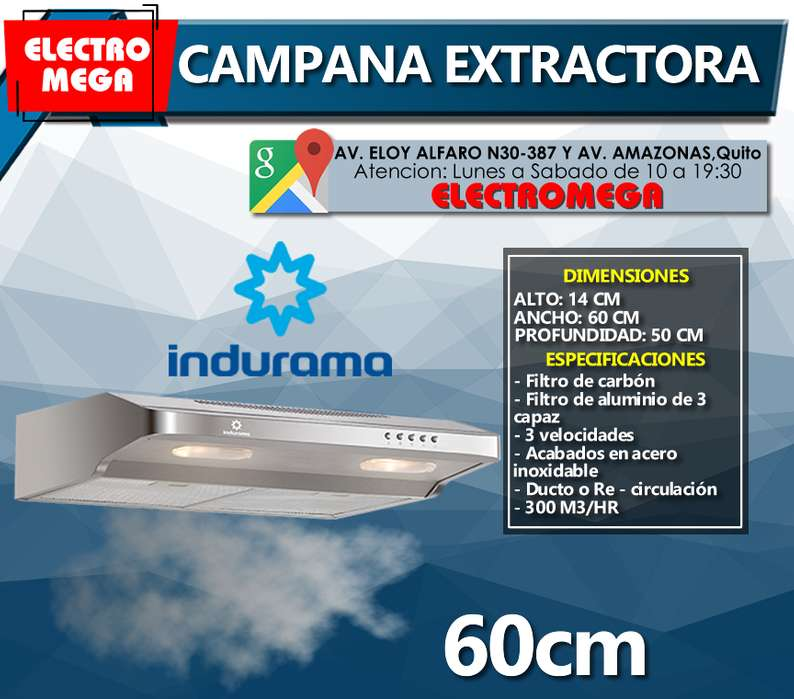 Campana Extractora Indurama 60 Cm 300m3/h Filtro De Carbón