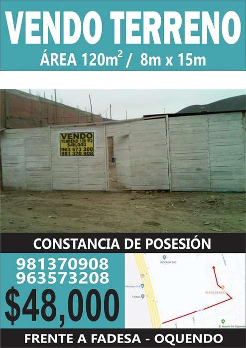 TERRENO DE 120m2 - 48,000 - Miguel Mujica Gallo Mz C lote 19