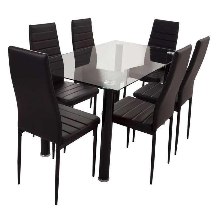 <strong>comedor</strong>es nuevos 6 sillas de cuero mas mesa de vidrio templado