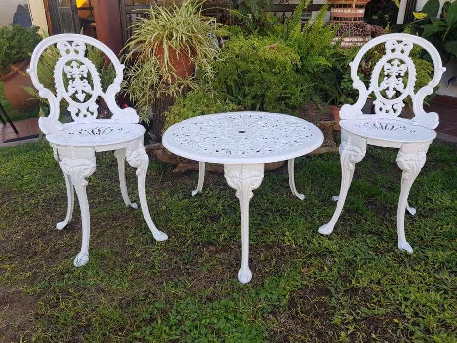 Juego de Jardin Reina Ana Fund. de <strong>aluminio</strong> p/ Balcón Mesa 65x 45 c/ 2 sillas