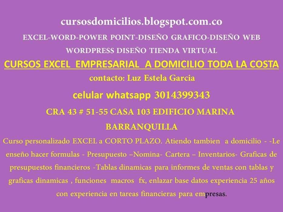 CURSOS EXCEL PAGINAS WEB, DOMICILIOS