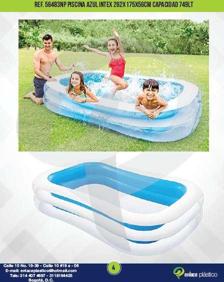 Piscina Azul Intex 262x175x56cm Capacidad 749lt