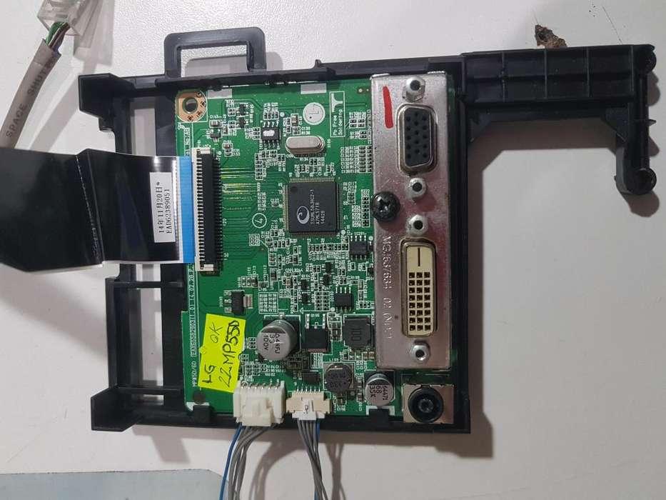 Placa main fuente <strong>monitor</strong> Lg 22mp55d funcionando