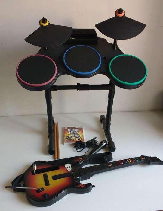 Bateria Microfono Juego Guitarra Guitar Hero Wii olxjess la boca