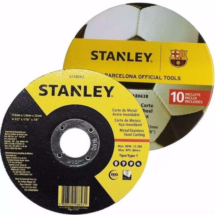 DISCO DE CORTE STANLEY 115 X 1,6 MM. LATA DE 10 UNIDADES