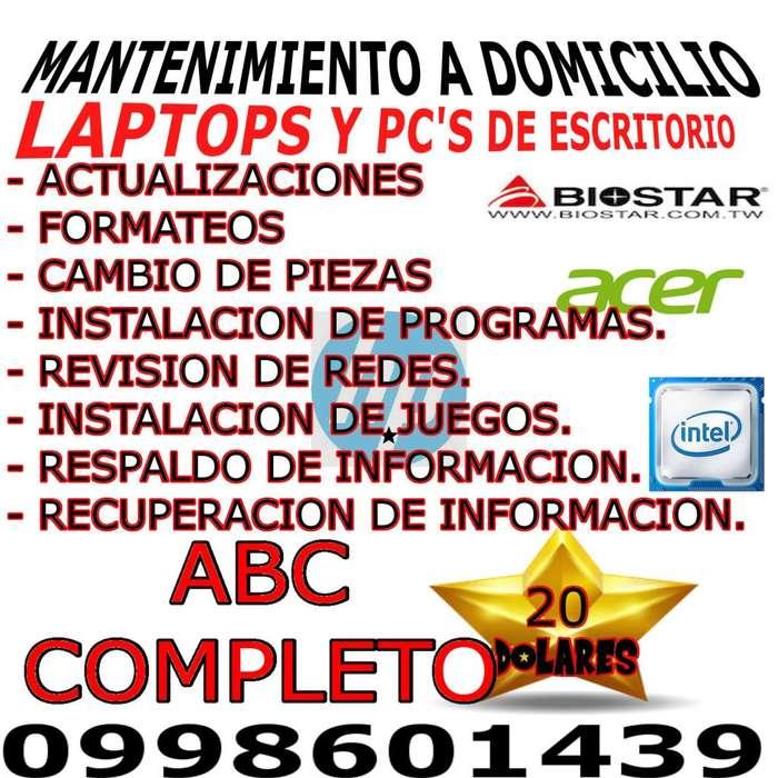 Mantenimiento a domicilio de pcs y laptops desde el Sur de Quito hasta los Valles.