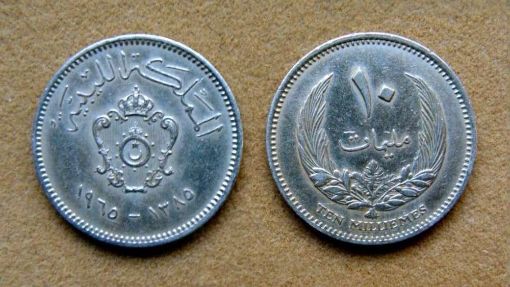 Moneda de 10 milliemes Libia 1965