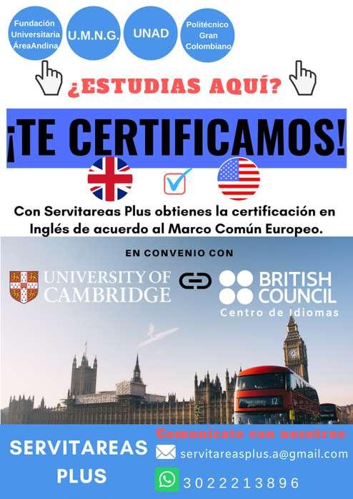 Asesorías Trabajos Universitarios/Certificados Inglés U.M.N.G/Área Andina/Politécnico G.Col.&UNAD.100%Garantizado!
