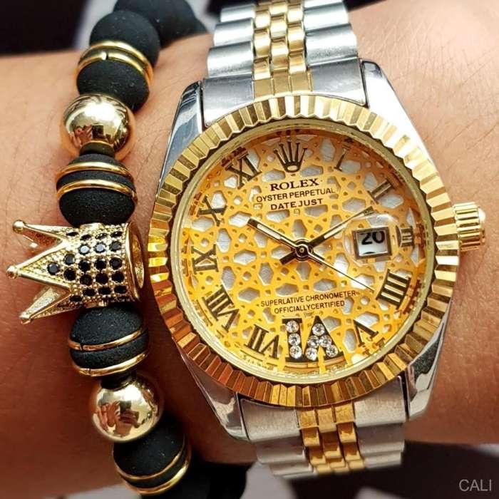 Reloj Rolex doble color para mujer