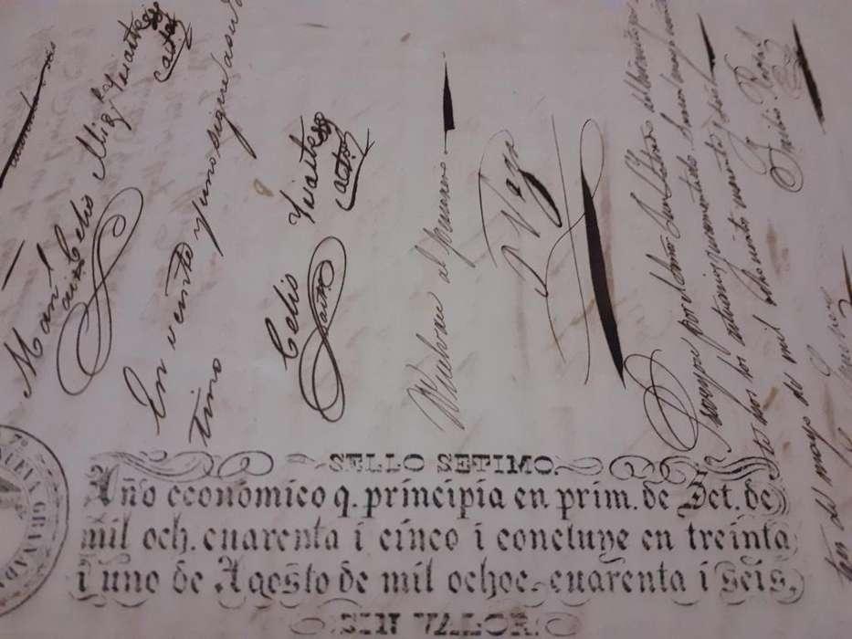SE VENDE DOCUMENTO HISTORICO DE 1846 300.000