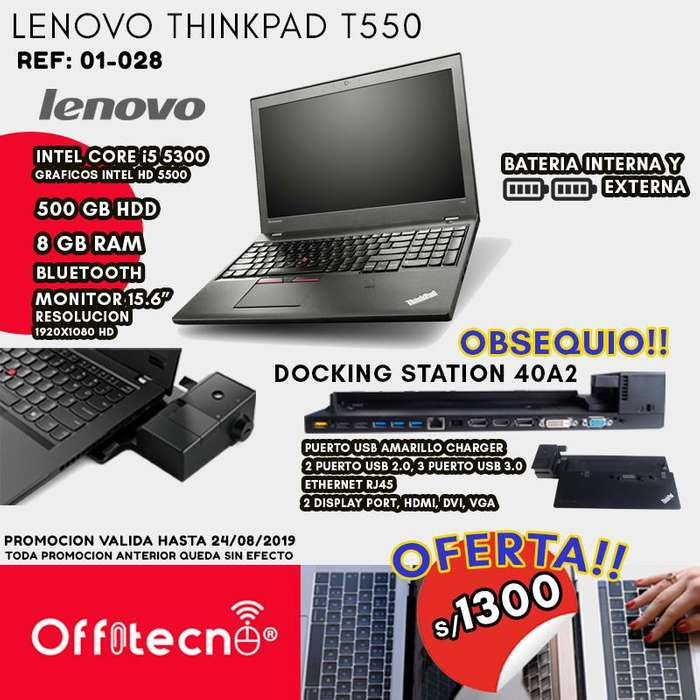 LAPTOP LENOVO THINKPAD T550, INTEL CORE I5 5300, 8 GB RAM, 500 GB HDD