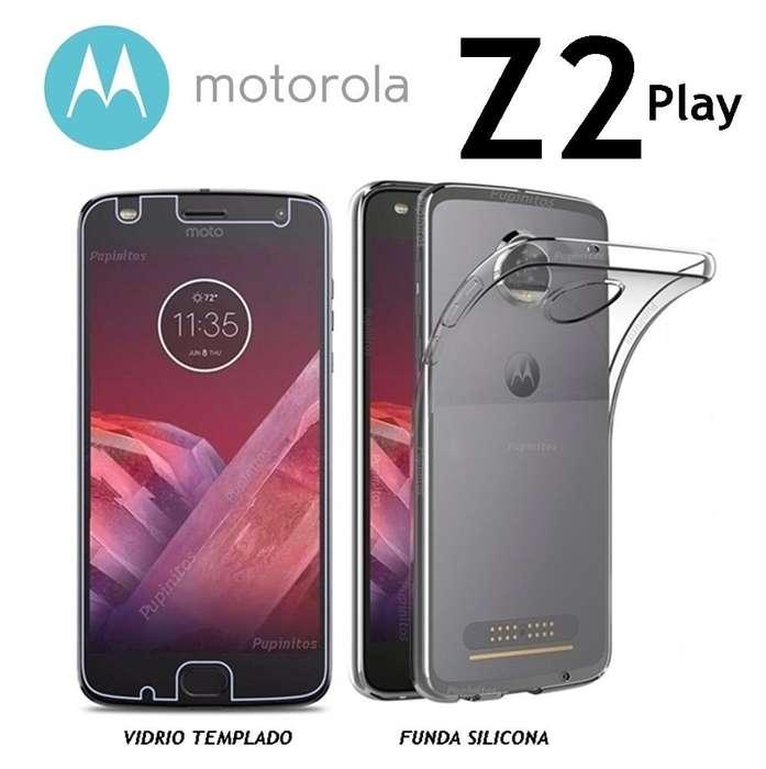 Funda Tpu Silicona Vidrio Templado Motorola Moto Z2 Play