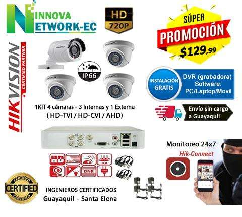 KIT 4 CAMARAS HD VIDEO VIGILANCIA RESIDENCIAL Y COMERCIAL