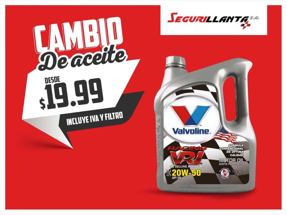 Cambio de Aceite - VALVOLINE - Incluye Filtro Americano