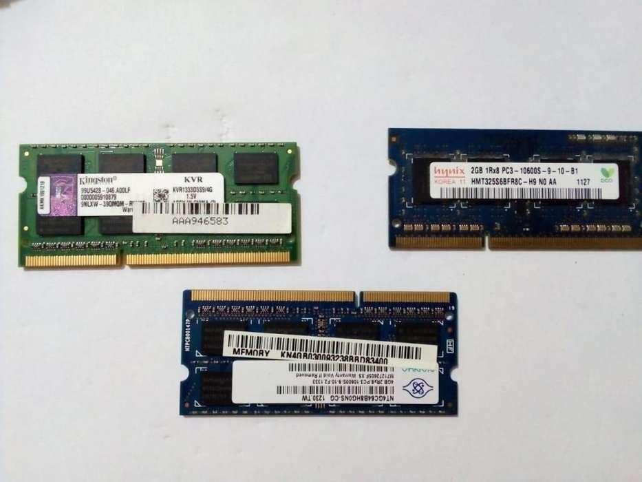 memoria ram para laptop de 4 GB y de 2 GB