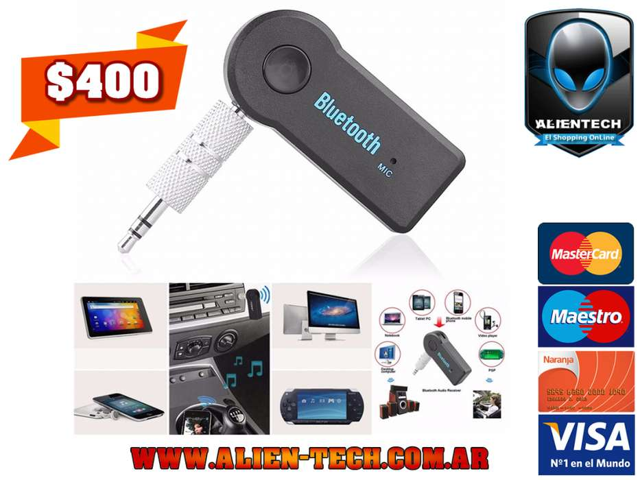 ALIENTECH: Receptor / Adaptador Bluetooth Música Manos Libres Con adaptador Plug a Plug 3.5mm