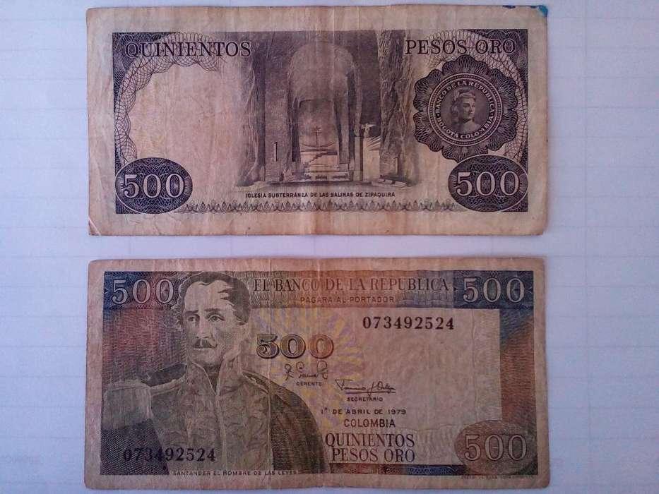 Duo Billetes 500 Pesos Col. 1 Abril 1979