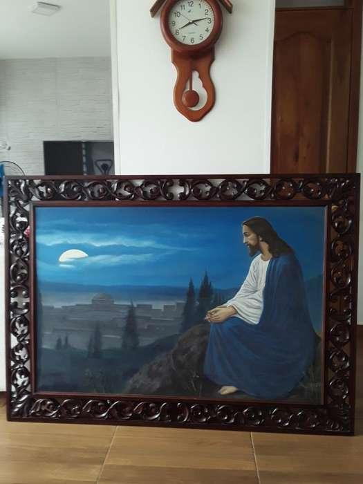 Pintura Al Oleo con Marco Tallado