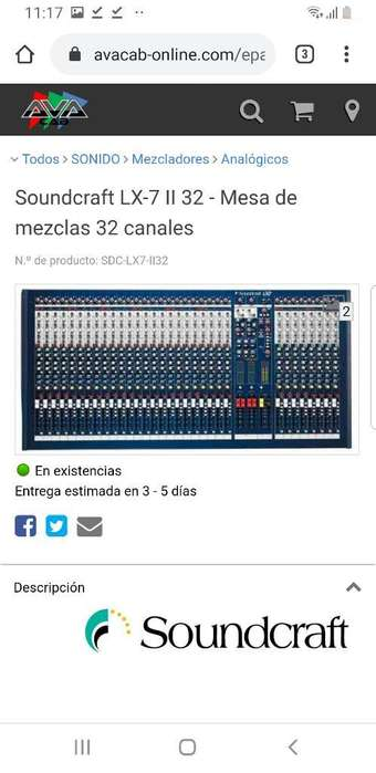 Consola Soundcraft Lxii 7 32 Canales