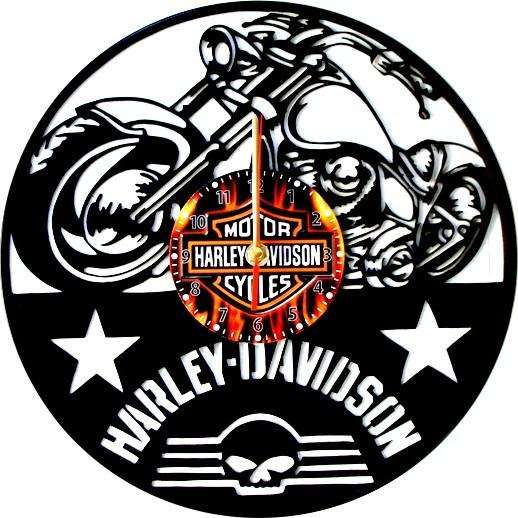 Reloj De Pared En Disco De Acetato,o Lp Harley Davidson