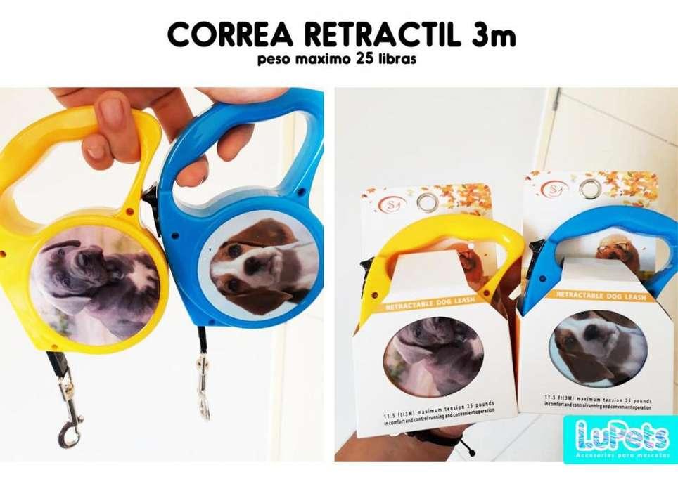 Correa Retractil Perro Mascotas 3 Metros-25 lb