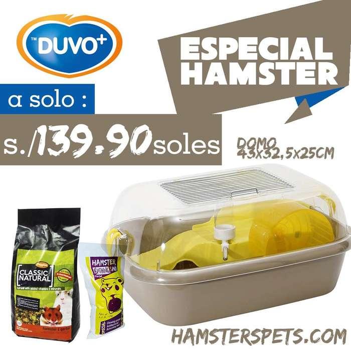Terrario Jaula para <strong>hamster</strong> disponible con alimento y arena de baño 1kg