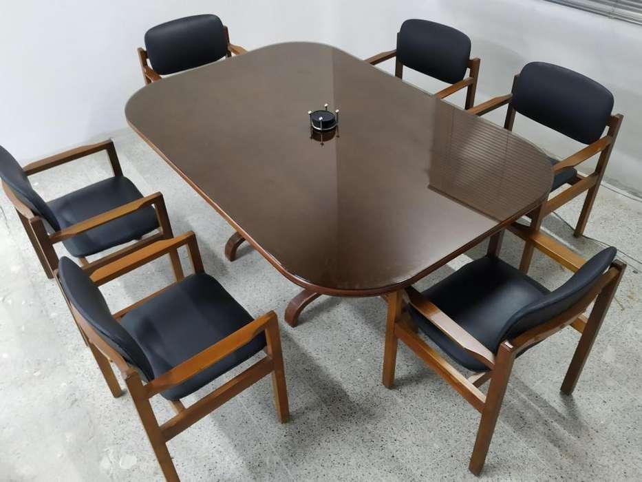 Mesa De Juntas Con <strong>silla</strong>s y Vidrio Templado