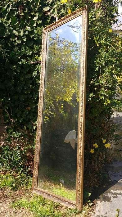 Antiguo Espejo Biselado Marco Metal Estilo