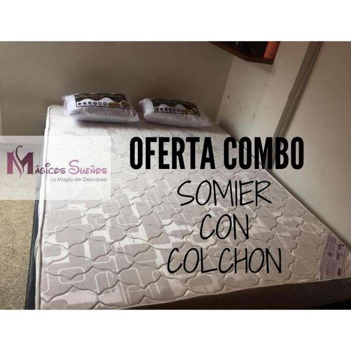 COLCHON CON BASE CAMA Y ALMOHADAS envió Gratis Medida 1.40*1.90 CON GARANTÍA