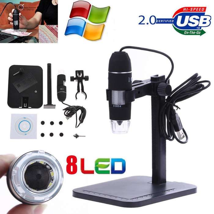 eC Mini Camara MICROSCOPIO Digital USB Zoom 1000X 8 LEDs