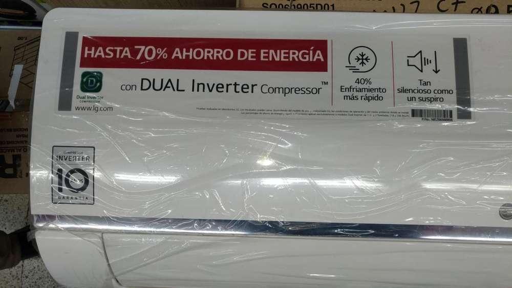 DUAL COOL INVERTER LG 12000 BTU, AIRE ACONDICIONADO SPLIT 220V, VM122C7
