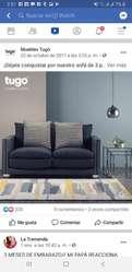 Vendo Lindo Sofa Luxury de Cuero Y Lino