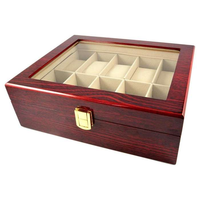 Caja Porta Relojes 10 Unidades Caja Lujo Madera Hombre Mujer