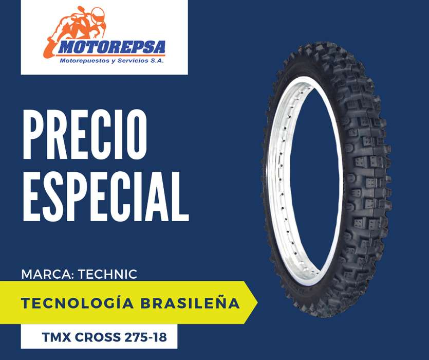 <strong>llanta</strong> TECHNIC TMX CROSS 2.75/18 para Moto HONDA CG 125/150, TITAN, FAN, YAMAHA YBR